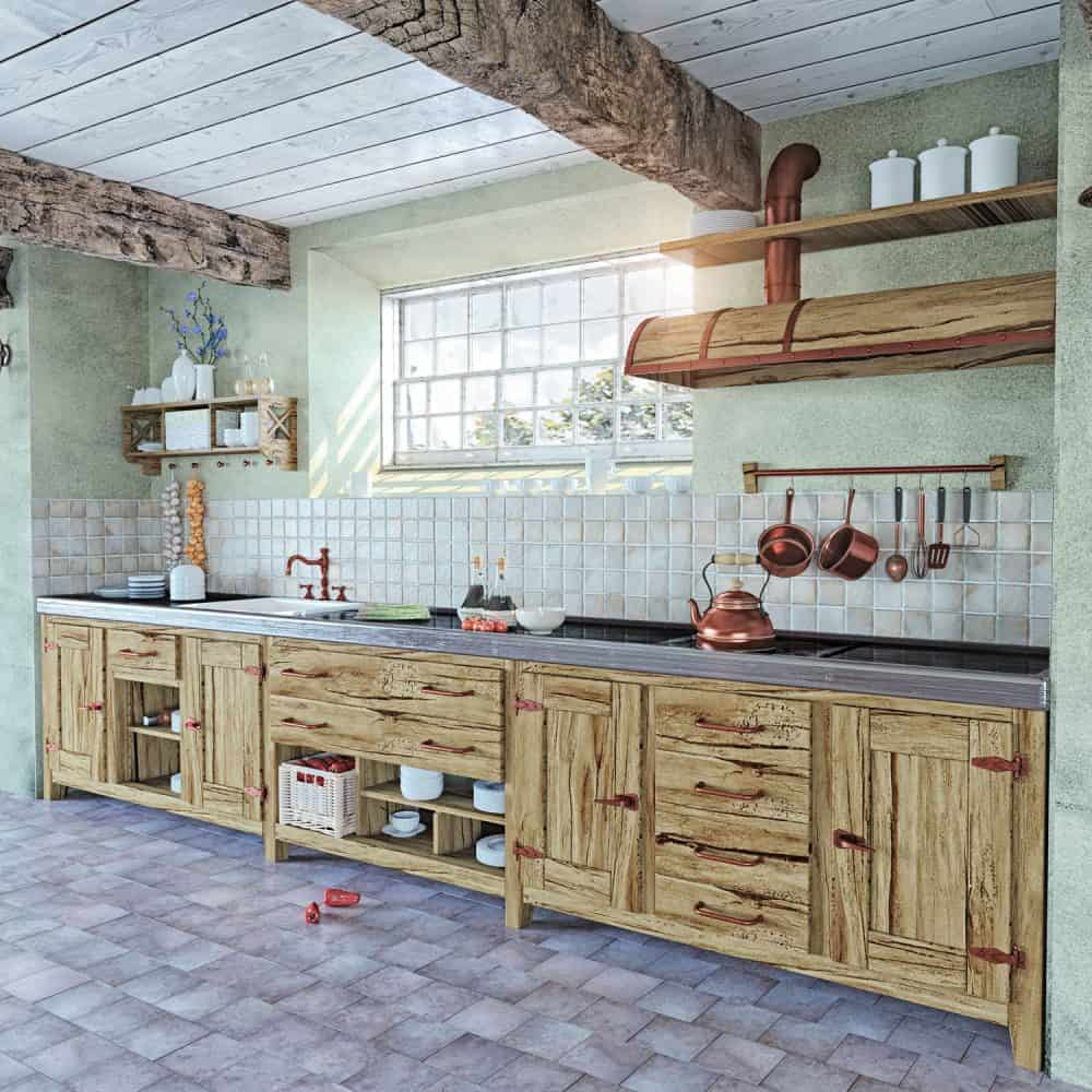 Mint green painted walls with wooden kitchen cabinetries and light purple tiled flooring