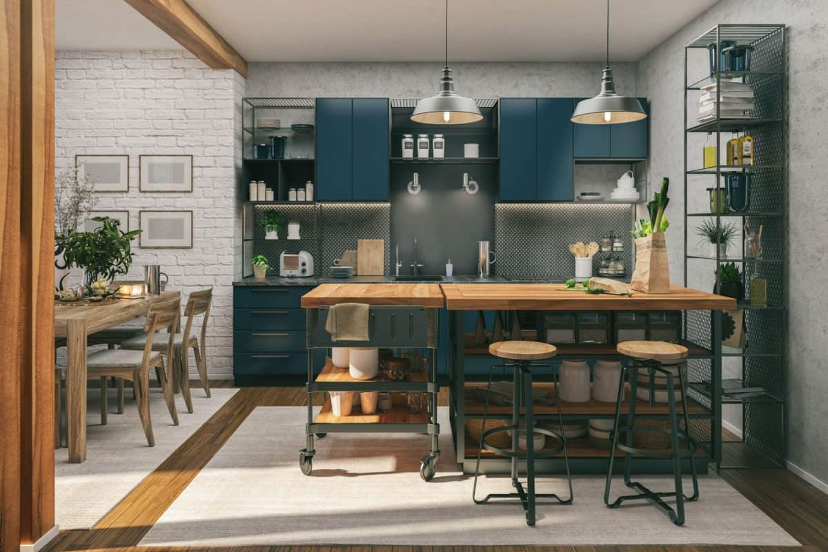 Rustic inspired kitchen with wooden and steel furnitures, blue painted cabinets and white brick wallpapers