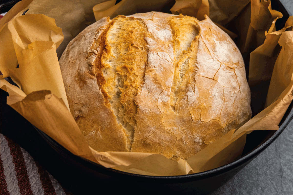 Rustic white bread baked in a cast iron dutch oven, just out of the oven. Can You Put A Loaf Pan In A Crock Pot Or A Dutch Oven