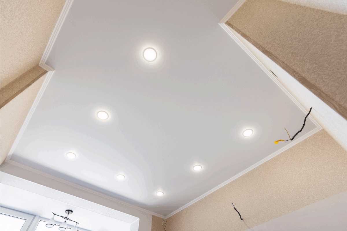 Stretch ceiling in the kitchen with installed and included spotlights. What Paint Finish Is Best For Kitchen Ceiling [3 Suggestions]