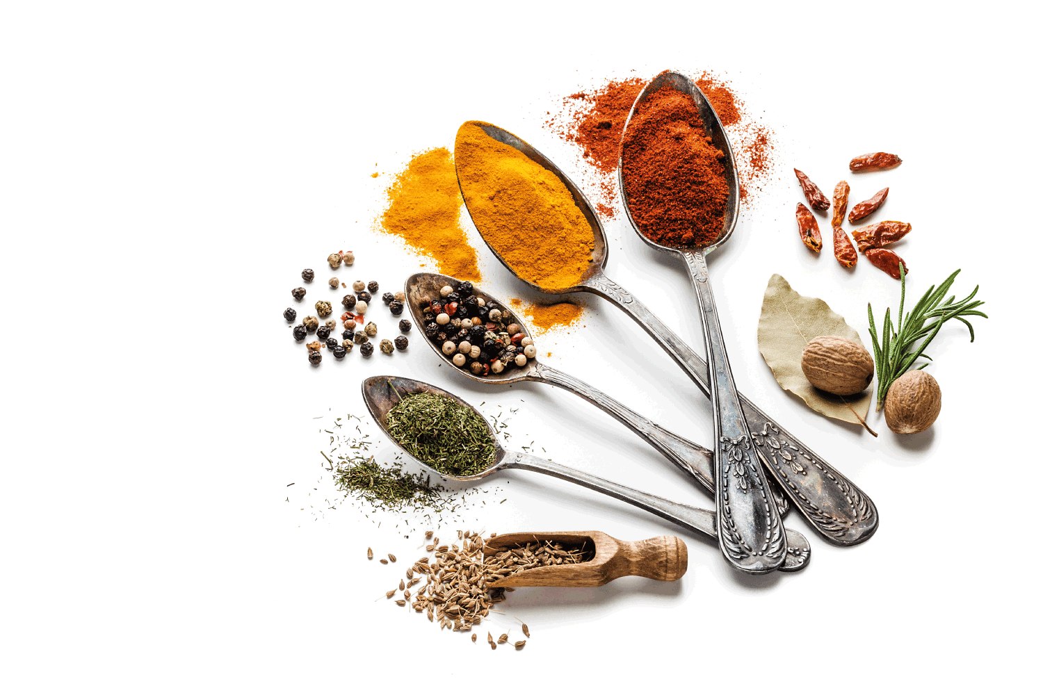 Top view of four old spoons with spices and herbs shot on white background