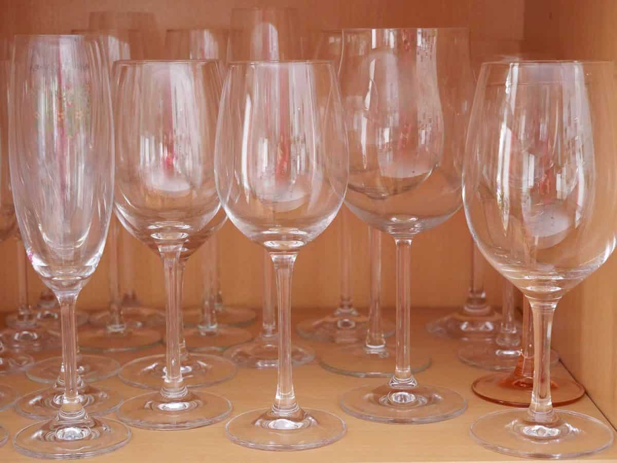 Various wine glasses in the cupboard