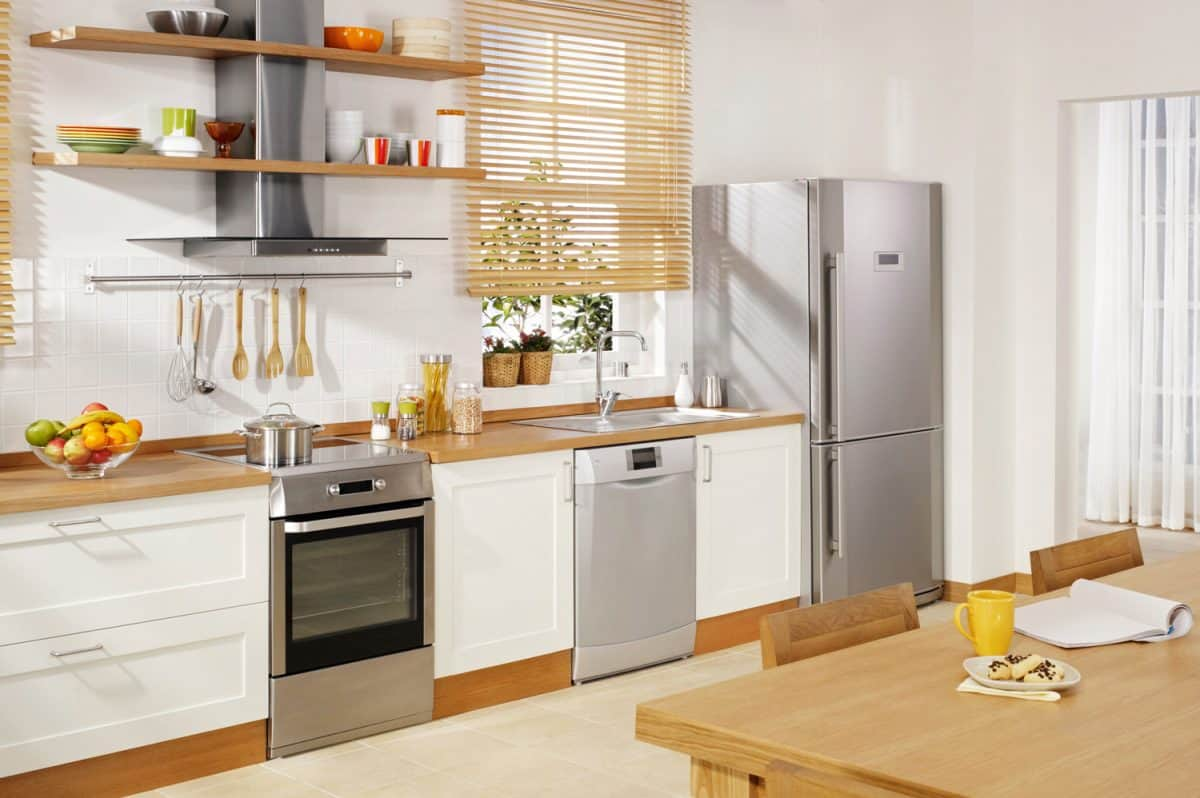 Wide angle shot of a domestic kitchen with modern appliances