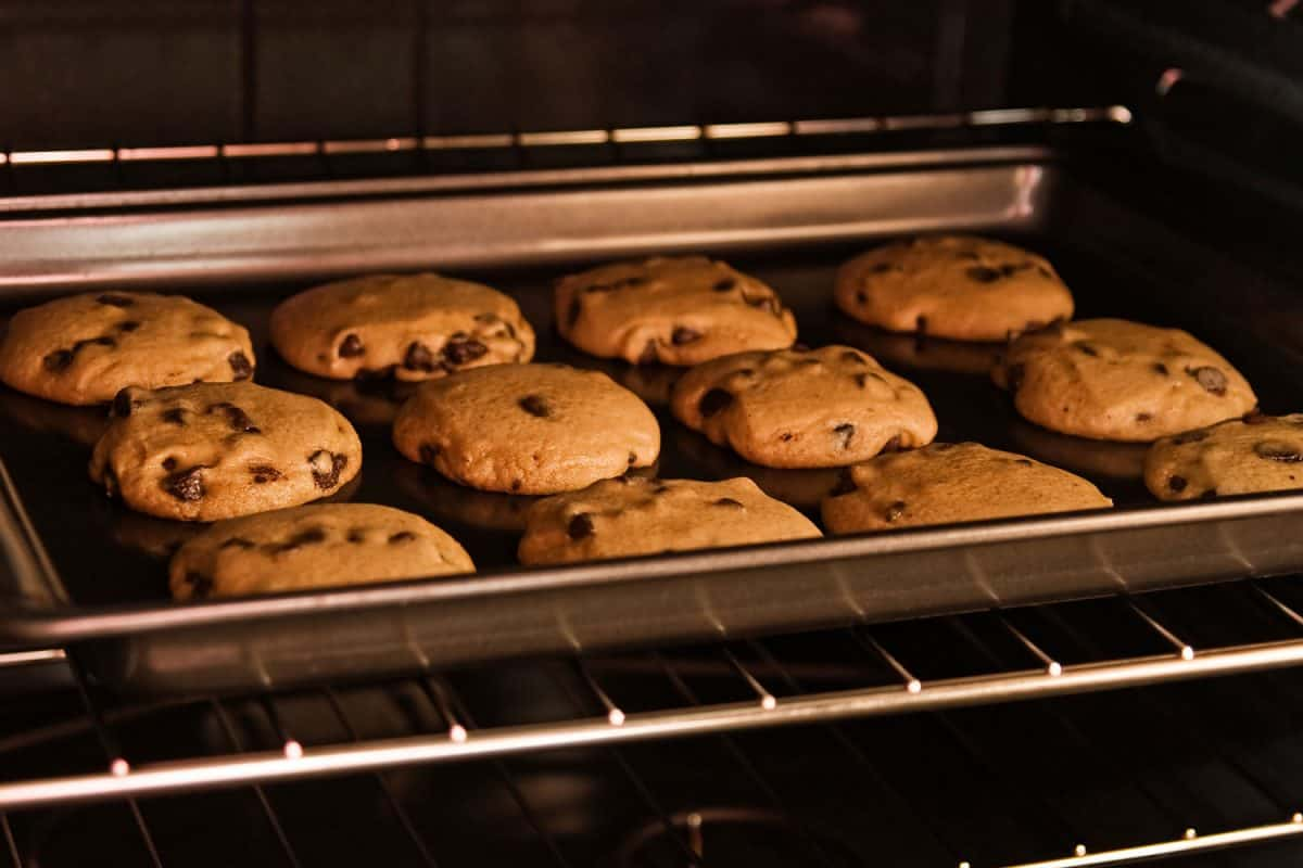 Baking chocolate chips in side the oven