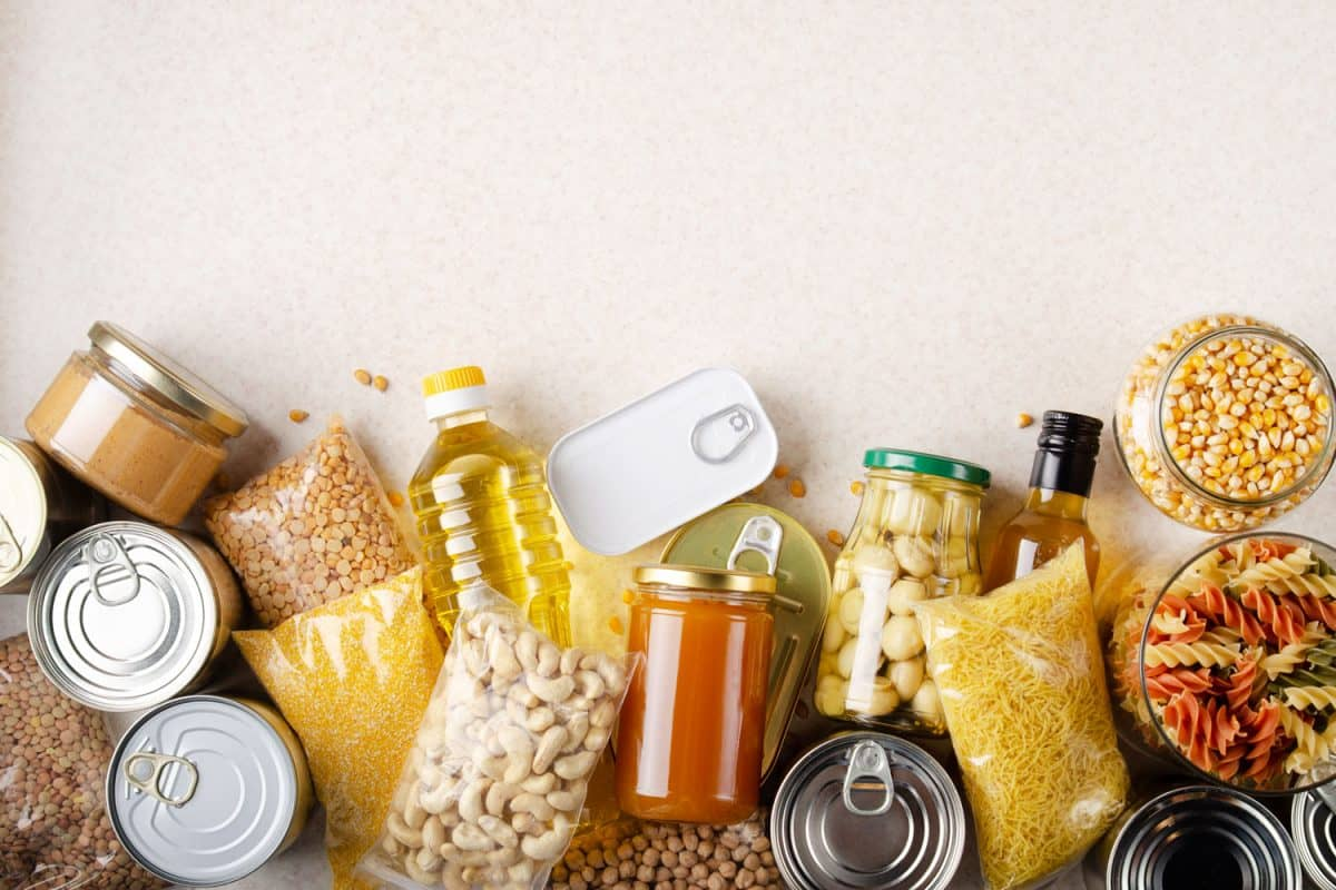 Canned goods with nuts and other goods in bottles