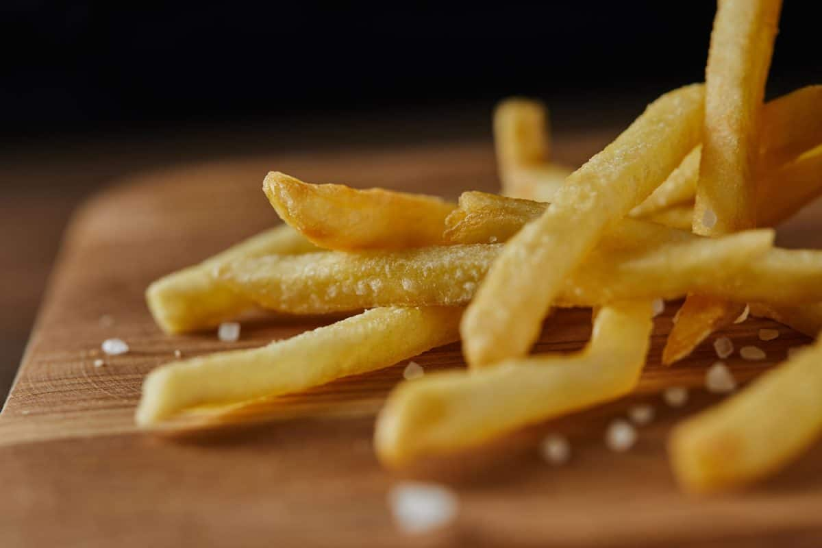 French fries drizzled with salt