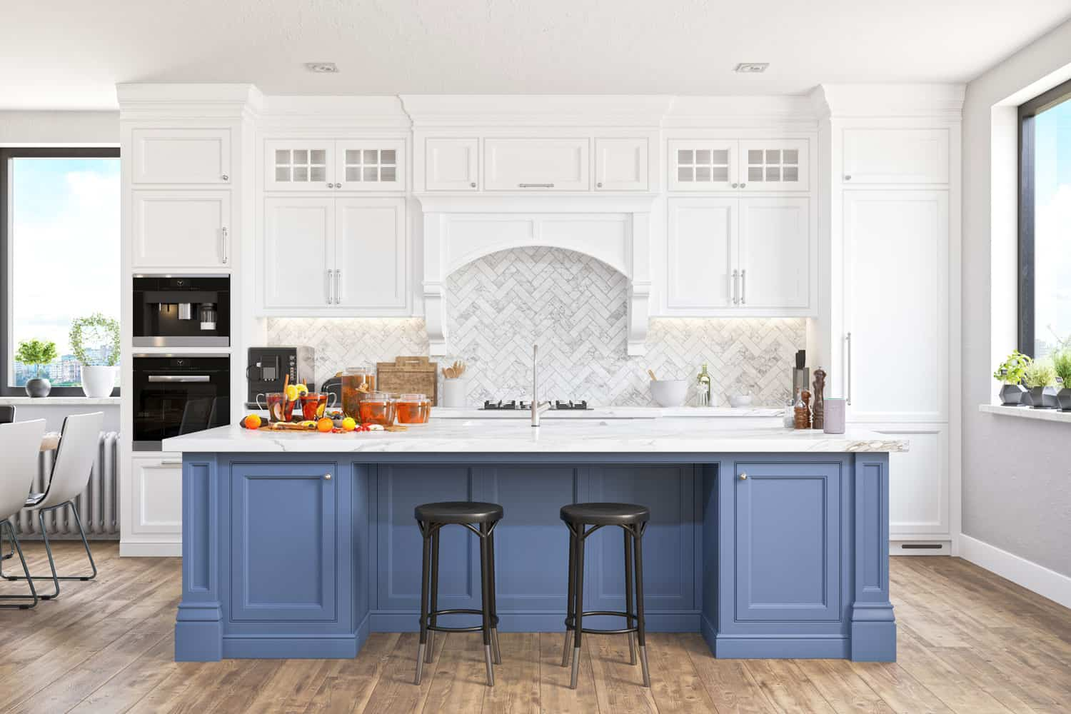 Modern Kitchen With Smart Speaker, Do Kitchen Cabinets Have To Be Symmetrical?