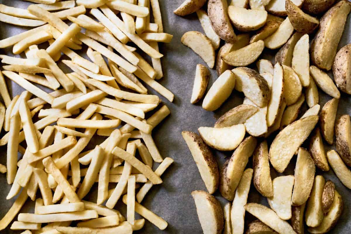 Sliced potatoes and French fries