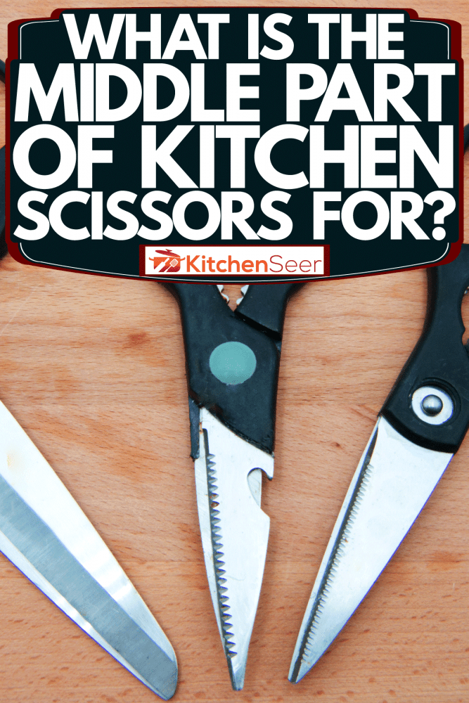 Three different kitchen scissors on the wooden table, What Is The Middle Part Of Kitchen Scissors For?