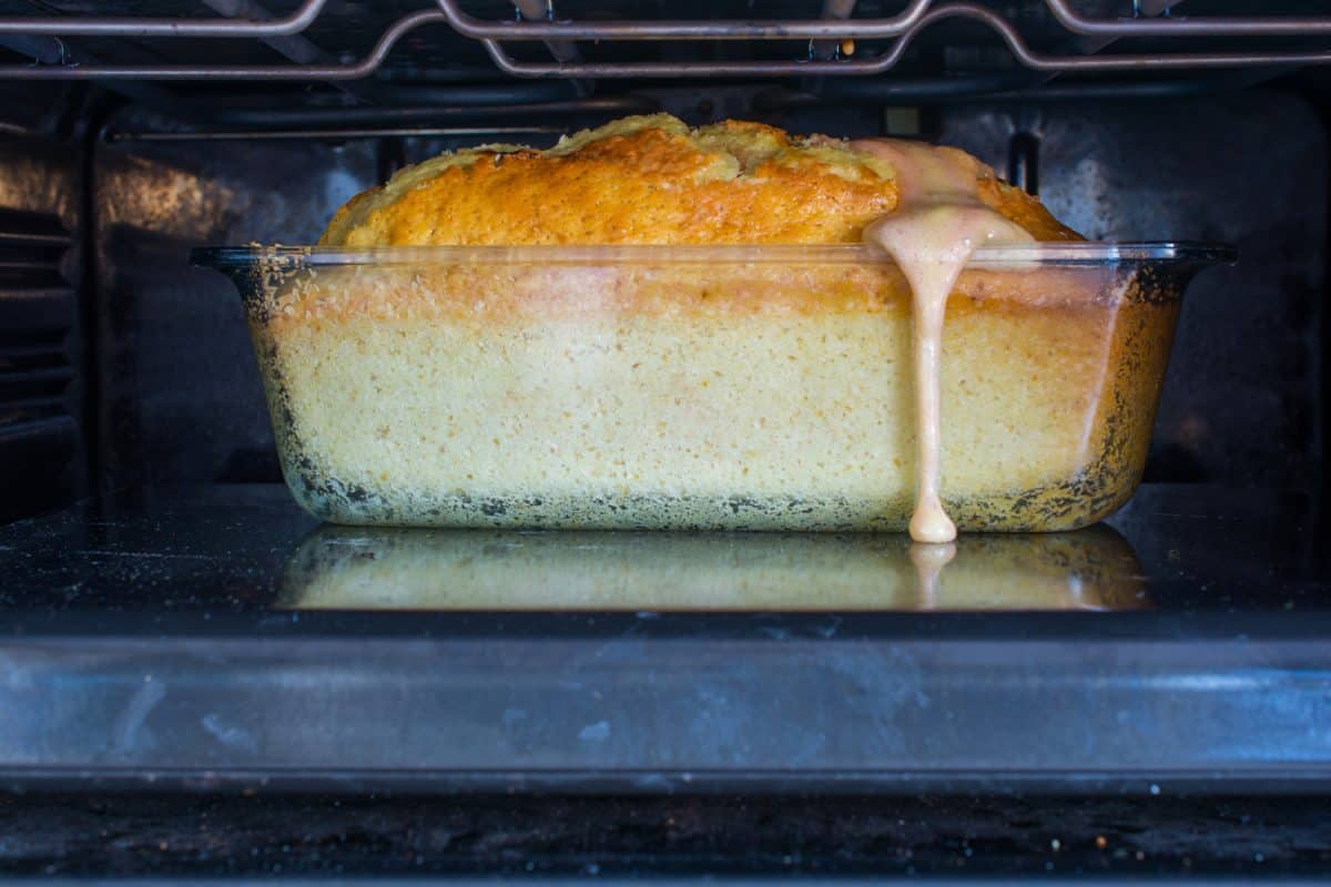 cake baked in the oven. well-bloated, overflowed